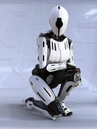 3D rendering of a female  robot sitting down crouching.