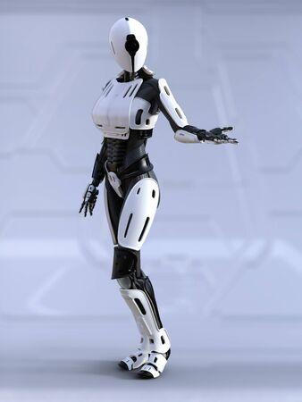 3D rendering of a female  robot standing with its arm out like she is showing something.
