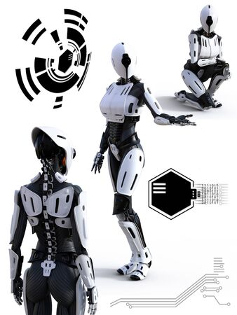 3D rendering of a female  robot technology artificial intelligence concept.