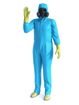 3D rendering of person wearing green hazmat suit holding up his hand like he is saying stop, don't come here.