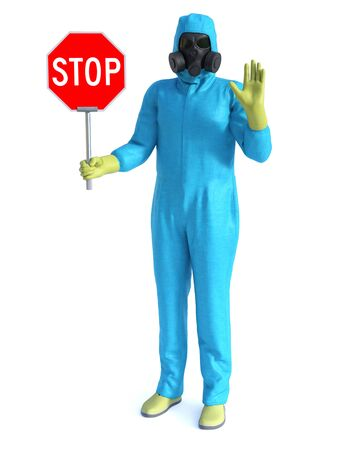 3D rendering of person wearing blue hazmat suit holding a stop sign in one hand and holding up his other hand Stock Photo