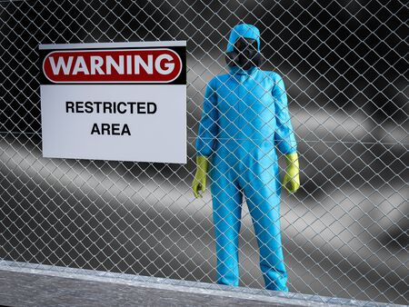 3D rendering of person wearing hazmat suit behind a wire steel fence. There is a big warning sign hanging on the fence, saying it's a restricted area. Stock Photo