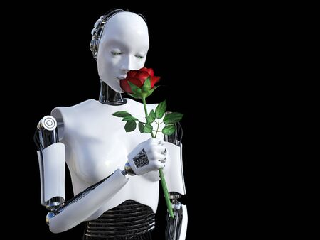 3D rendering of a female robot holding a red rose that she is smelling. Black background.