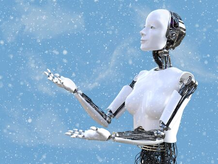3D rendering of a female robot looking at the snow in the air with her arms and hands out to catch the snow flakes falling from the sky.