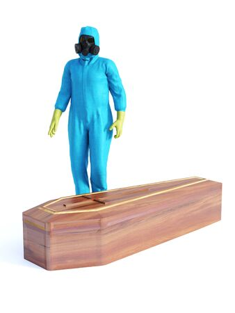 3D rendering of person wearing blue hazmat suit standing beside a coffin containing a Covid-19 victim.