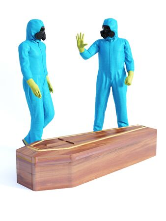 3D rendering of two people wearing blue hazmat suits standing beside a coffin containing a Covid-19 victim.