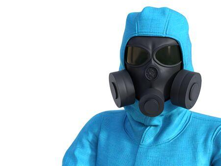 3D rendering portrait of person wearing blue hazmat suit.