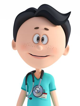 3D rendering portrait of a young smiling friendly cartoon doctor wearing a stethoscope around his neck. White background. Stock Photo
