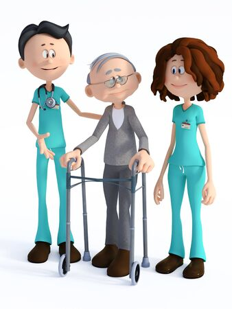3D rendering of a young nurse and smiling friendly cartoon doctor wearing a stethoscope helping an elderly man with walker. White background.