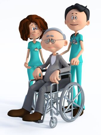 3D rendering of a young nurse and smiling friendly cartoon doctor wearing a stethoscope standing with an elderly man in wheelchair. White background.