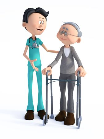 3D rendering of a young smiling friendly cartoon doctor wearing a stethoscope helping an elderly man with walker. White background.
