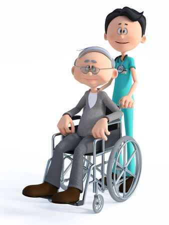 3D rendering of a young smiling friendly cartoon doctor wearing a stethoscope standing with an elderly man in wheelchair. White background.