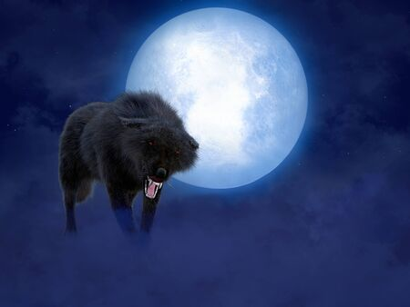 3D rendering of a black growling aggressive wolf or werewolf with glowing red eyes in front of a big moon. Stars in the night sky, fog on the ground.