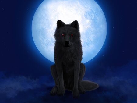 3D rendering of a black wolf or werewolf with glowing red eyes sitting in front of a big moon. Stars in the night sky, fog on the ground.