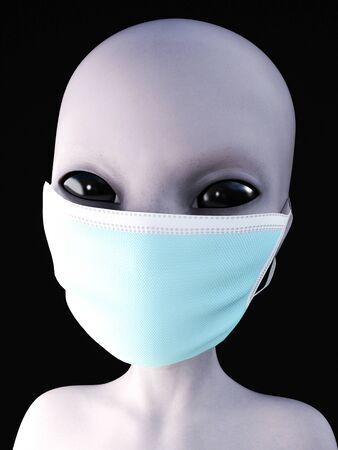Portrait of a gray alien wearing face mask, 3D rendering. Black background.