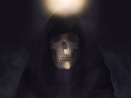 Portrait of the grim reaper or death skeleton dressed in a black hood Stock Photo