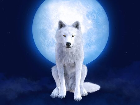 3D rendering of a majestic white wolf sitting in front of a big moon. Stars in the night sky, blue fog on the ground.
