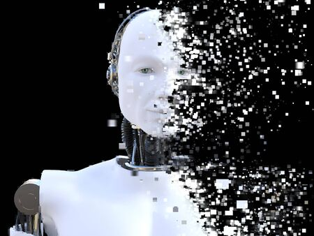 3D rendering of the head of a male robot. The head is breaking apart into pixels. Black background.