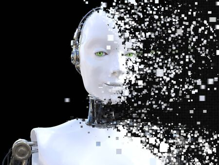 3D rendering of the head of a female robot. The head is breaking apart into pixels. Black background. Stock Photo
