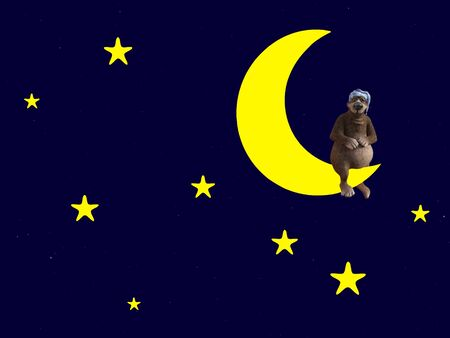 3D rendering of a cute sleepy cartoon bear wearing a night cap and sitting on a crescent moon in the night sky surrounded by stars.