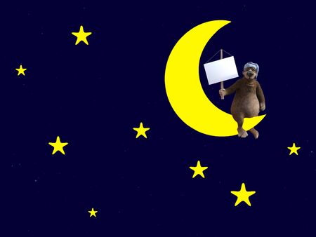 3D rendering of a cute sleepy cartoon bear wearing a night cap and sitting on a crescent moon, holding a blank sign, in the night sky surrounded by stars.