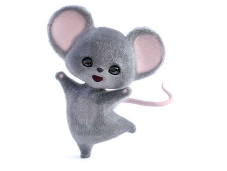 3D rendering of an adorable kawaii furry smiling mouse looking very happy and jumping for joy. White background.