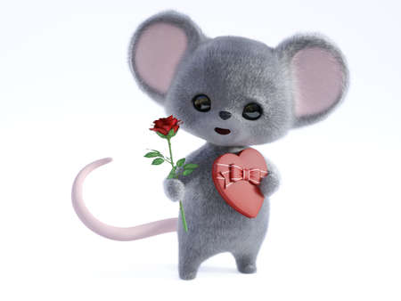 3D rendering of an adorable kawaii furry smiling mouse holding a heart shaped chocolate box in one hand and a red rose in the other hand, being romantic, ready for a valentine's date.