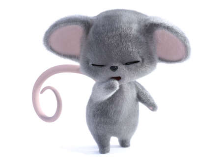 3D rendering of an adorable kawaii furry mouse yawning and looking very sleepy. White background.