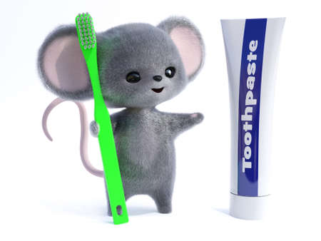 3D rendering of an adorable kawaii furry smiling mouse holding a very big green toothbrush, looking at a giant toothpaste tube. Ready to brush its teeth!  White background.