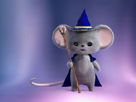 3D rendering of an adorable kawaii furry smiling mouse dressed as a wizard, holding a magic staff to cast spells with. Stock Photo