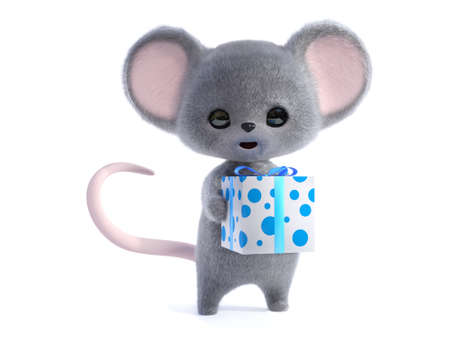3D rendering of an adorable kawaii furry smiling mouse holding a wrapped birthday gift in its hand. White background.