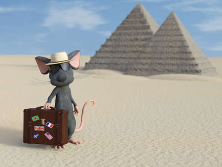 3D rendering of a cute cartoon mouse holding a travel suitcase, wearing sunglasses and a hat, looking like a tourist. There are Egyptian pyramids in the background.
