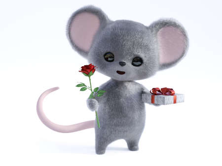 3D rendering of an adorable kawaii furry smiling mouse holding a red rose in one hand and a gift in the other, being romantic, ready for a valentine's date. Stock Photo