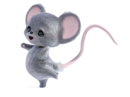 3D rendering of an adorable kawaii furry smiling mouse looking very happy and jumping for joy or dancing. White background.