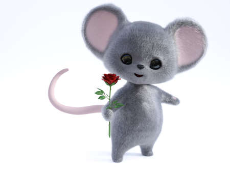 3D rendering of an adorable kawaii furry smiling mouse holding a red rose in its hand, being romantic, ready for a valentine's date.