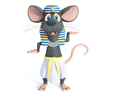3D rendering of a cute smiling cartoon mouse dressed in an ancient Egyptian style. White background. Stock Photo