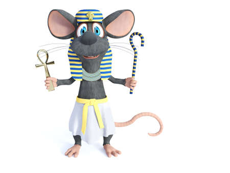 3D rendering of a cute smiling cartoon mouse dressed in an ancient Egyptian style, holding an Ankh and a shepherd's crook sceptre. White background.