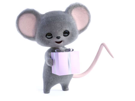 3D rendering of an adorable kawaii furry smiling mouse holding a wrapped birthday gift in its hands. White background.
