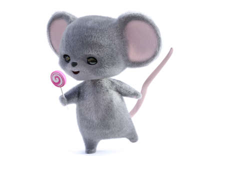 3D rendering of an adorable kawaii furry smiling mouse holding a pink lollipop. White background.