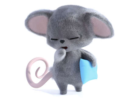 3D rendering of an adorable kawaii furry mouse holding a blue pillow and yawning and looking very sleepy. White background.