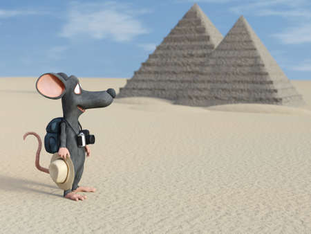 3D rendering of a cute cartoon mouse holding a hat and a camera, looking like a tourist with his backpack. There are Egyptian pyramids in the background.