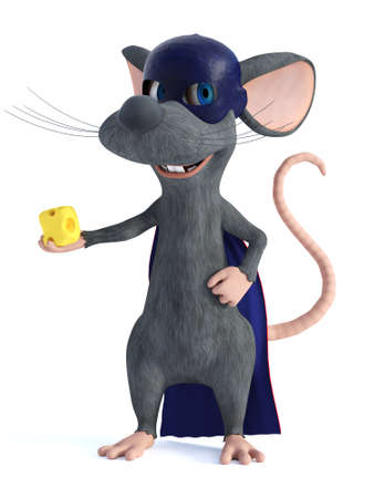 3D rendering of a cute smiling cartoon mouse dressed as a super hero with a blue face mask and cape, holding a piece of cheese in his hand. White background.