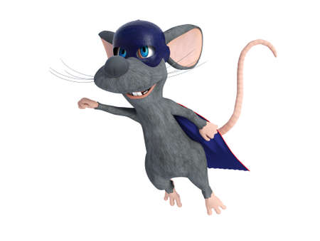 3D rendering of a cute smiling cartoon mouse flying while dressed as a super hero with a blue face mask and cape. White background. Stock Photo