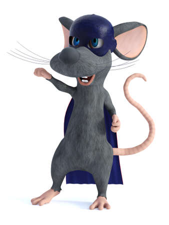 3D rendering of a cute smiling cartoon mouse dressed as a super hero with a blue face mask and cape. White background.