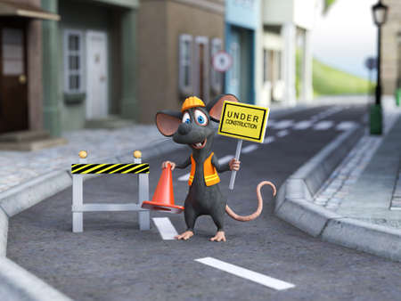 3D rendering of a cute cartoon mouse dressed as a construction woker, holding a traffic cone and under construction sign, standing in the middle of a street.