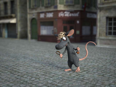3D rendering of a cute smiling cartoon mouse holding a magnifying glass and pipe, dressed as detective