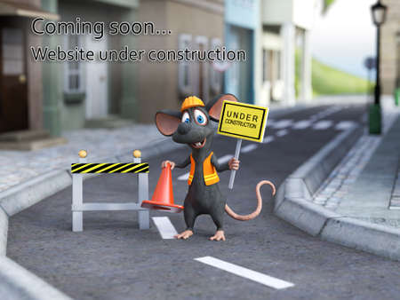 3D rendering of a cute cartoon mouse dressed as a construction woker, holding a traffic cone and under construction sign. Website under construction soming soon template.