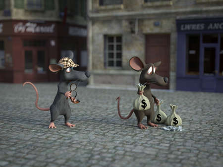 3D rendering of a cute cartoon mouse holding a magnifying glass and pipe, dressed as detective