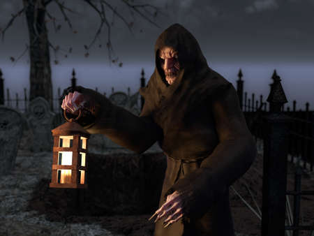 3D rendering of vampire monster creature on a cemetery at night. He is holding a lantern in his hand. Graveyard with tombstones in the background.