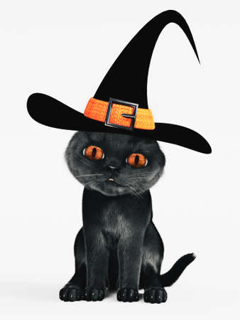 3D rendering of a cute Halloween black cat with orange colored eyes wearing a witch hat. White background. Stock Photo